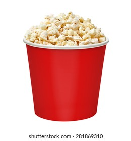 Popcorn in red bucket cup mockup or mock up template isolated on white background