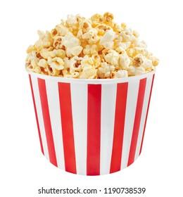 popcorn side view beautiful bucket  on white