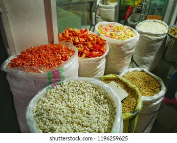 Popcorn and snacks, local street food in Shiraz Iran