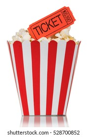 Popcorn in a square box with movie tickets isolated on a white background
