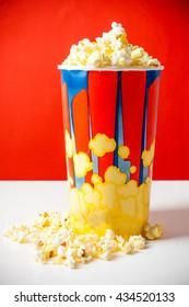Popcorn in striped bucket