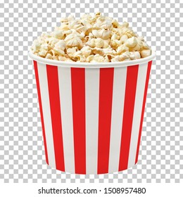 Popcorn in striped bucket isolated on checkered background including clipping path