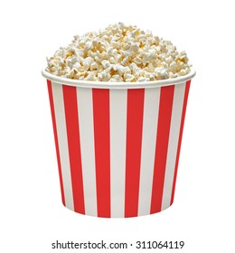 Popcorn in striped bucket isolated on white background