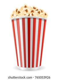 popcorn in striped cardboard package stock illustration isolated on white background