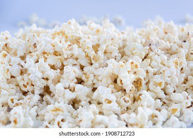 Popcorn texture on a blue background.