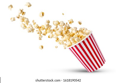 Popcorn viewed float Paper cup with popcorn on white isolated
