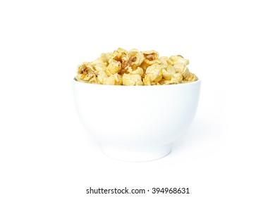 popcorn white bowl on white background