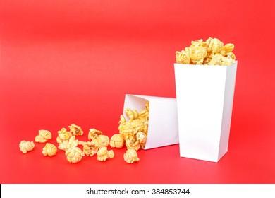 popcorn white box on red background