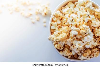 Popcorn in white cardboard box