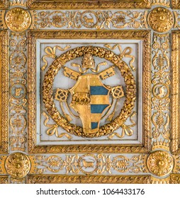Pope Alexander VI of Borgia Family coat of arms in the ceiling of the Basilica of Santa Maria Maggiore in Rome, Italy. April-07-2018