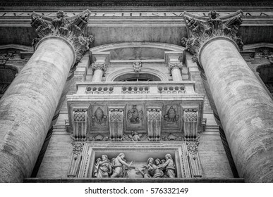 The Pope balcony of Saint Peters Basilica in Vatican, Italy, Europe, Black and white