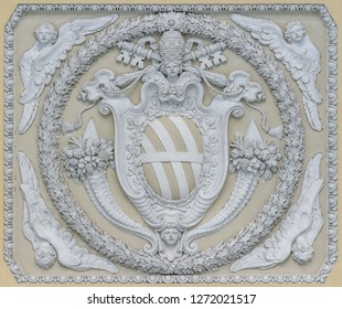 Pope Clement XII coat of arms in the ceiling of the loggia in the Basilica of Saint John Lateran in Rome. December-15-2018