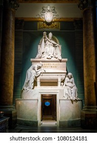 Pope Clement XIV burial by Antonio Canova, in the Basilica of the Santi XII Apostoli, in Rome, Italy. April-10-2018