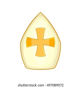 Pope hat icon in cartoon style isolated on white background  illustration