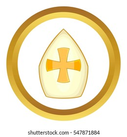 Pope hat  icon in golden circle, cartoon style isolated on white background