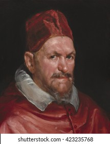 Pope Innocent X, by Circle of Diego Velazquez, c. 1650, Spanish painting, oil on canvas. Born Giovanni Battista Pamphilj, he was Pope from 1644-55, and increased the political power of the Vatican