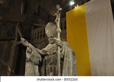 Pope John Paul II, Salt decorations in Wieliczka Salt Mine, Krakow