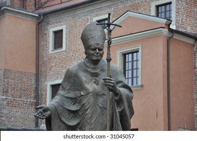Pope John Paul II statue in Krakow Poland