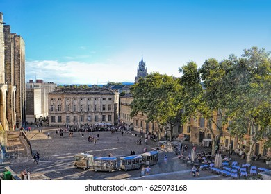The Popes Palace in Avignon, France, UNESCO World Heritage Site, Popes Palace square