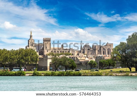 Popes Palace and Rhone river in Avignon in a beautiful summer day, France