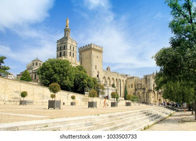 Popes Palace square in Avignon,  France, Romanesque building