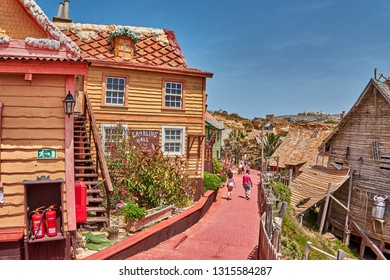 Popeye Village, Malta - May 29, 2016 : Colorful Popeye Village view. Popeye Village is the most popular touristic attraction in Malta