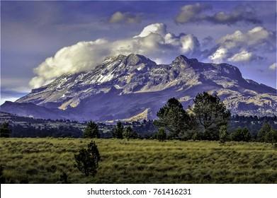 Popocatepetl Volcan Vulcano Montain and Mexico State around Puebla