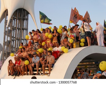 Popovka, Crimea / Ukraine - August 4, 2012: Daily ritual of farewell to the Sun at the Kazantip festival.