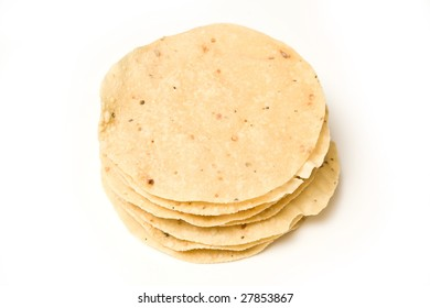 Poppadoms isolated on a white studio background.