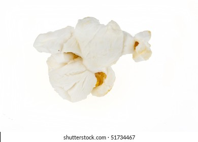 Popped popcorn kernel isolated on a white background.