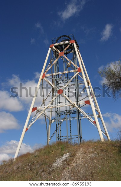 Poppet Head Framework Over Abandoned Gold Stock Photo (Edit Now