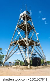 Poppet-head lookout tower at Mt Tarrengower in Maldon, Victoria, Australia.