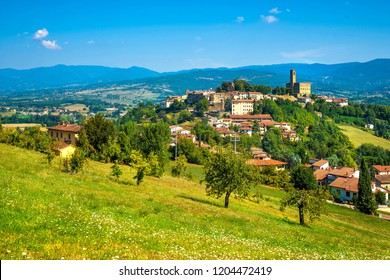 Poppi medieval village and castle panoramic view. Casentino Arezzo, Tuscany Italy Europe.