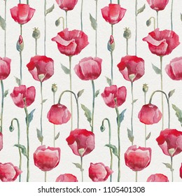 Poppies. Hand Drawn Flowers. Seamless watercolor floral pattern
