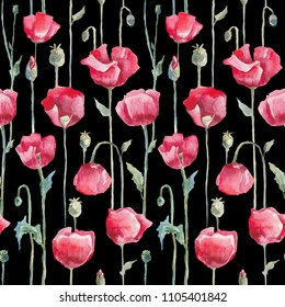 Poppies, Hand Drawn Flowers. Seamless watercolor floral pattern