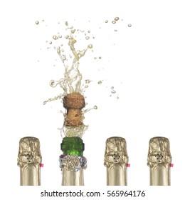 popping champagne cork  symbolizing success in work, a successful idea