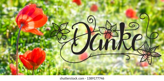 Poppy Flower, Spring, Calligraphy Danke Means Thank You