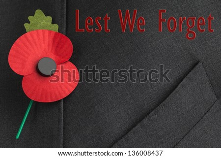 Poppy On Jacket Lapel Remembrance Day Stock Photo Edit Now
