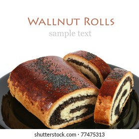 Poppy seed rolls with white background and copyspace