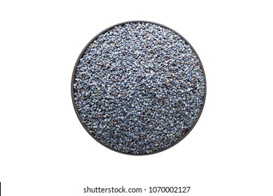poppy seeds in bowl, top view, isolated on a white background. organic spice