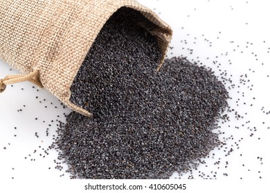 poppy seeds in a sack on a white background