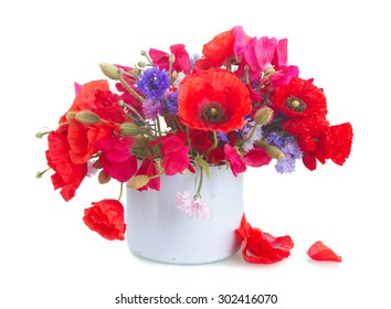 Poppy, sweet pea and blue corn flowers in pot   isolated on white background
