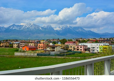 Poprad city skyline and High Tatras landscape