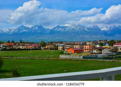Poprad city skyline and High Tatras mountains landscape