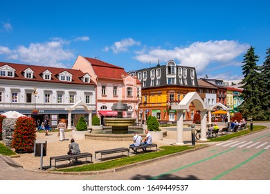 Poprad, Presov region / Slovakia - 2019/06/28: Panoramic view of the Poprad city center and St. Egidius square - Namestie svateho Egidia - in summer