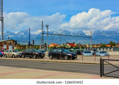 Poprad, Slovakia - April 28, 2018: Poprad city skyline and High Tatras mountains landscape