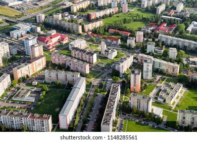 POPRAD, SLOVAKIA - JULY 28: Centre of city Poprad from above on July 28, 2018 in Poprad