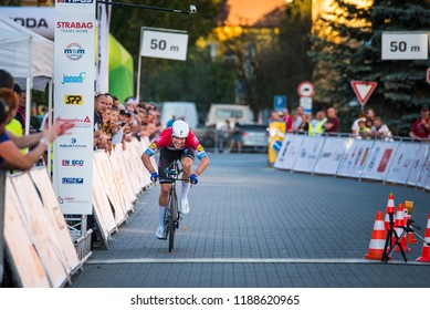 POPRAD, SLOVAKIA, SEPTEMBER 12, 2018: Bob Jungels, professional cycling rider from Luxemburg, cross the finish line in the individual time trial stage during the race Tour of Slovakia
