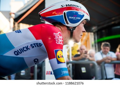 POPRAD, SLOVAKIA, SEPTEMBER 12, 2018: Bob Jungels, professional cycling rider from Luxemburg, at the start og the individual time trial during the race Tour of Slovakia
