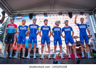 POPRAD, SLOVAKIA, SEPTEMBER 12, 2018: Professional cycling team Quick-Step on official presentation before the race Tour of Slovakia. Riders: ALAPHILIPPE, JAKOBSEN, JUNGELS, LAMPAERT, ŠTYBAR, TERPSTRA